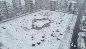 Son Dakika: Diyarbakırı kaplayan beyaz örtü, havadan görüntülendi