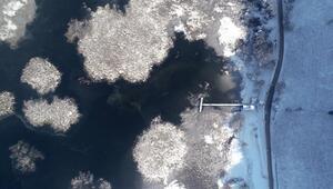 Efteni Gölü buzla kaplandı... Kartpostallık görüntüler ortaya çıktı