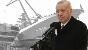 İlk milli fırkateyn suya indirildi... Cumhurbaşkanı Erdoğandan flaş açıklamalar