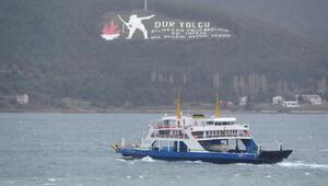 Lodos fırtınası, Çanakkalede deniz ulaşımını aksatıyor