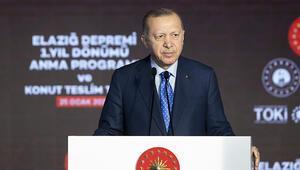 Cumhurbaşkanı Erdoğandan Elazığda deprem konutları teslim töreninde konuştu: Hedefimiz 5 yılda tamamlamak