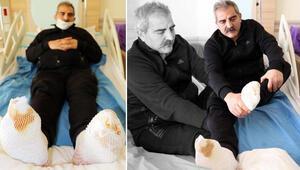 Erzurumda kamyon şoförünün araçtayken ayakları dondu