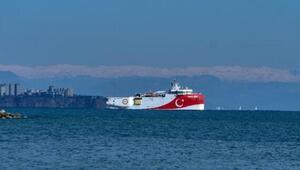 Oruç Reis, Antalya açıklarına demirledi
