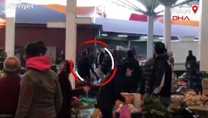 Pazar yerinde silahlar konuştu Kavga anı kamerada