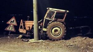 Direğe çarpan traktörün sürücüsü yaralandı