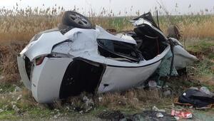 Akçakale'de otomobil devrildi: 1 ölü, 1 yaralı