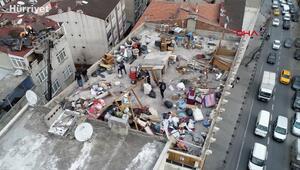 Esenlerde fırtına çatıyı yerinden söktü; sokak savaş alanına döndü
