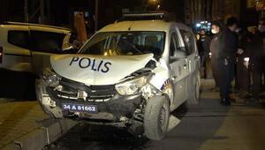 Arnavutköyde polis aracı kaza yaptı Yaralılar var...