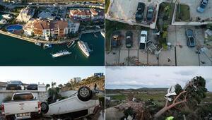 Çeşmede hortum felaketinin ardından vatandaşlar temizlik yapıyor 2 tonluk arabaların havalanıp sağa sola fırlaması çok şaşırttı