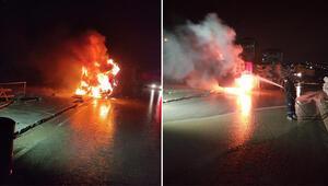 Arnavutköyde kamyon alev alev yandı