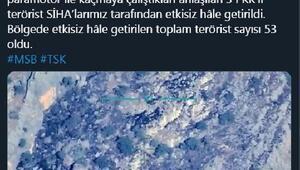 MSB: Garada 3 PKKlı terörist etkisiz hale getirildi