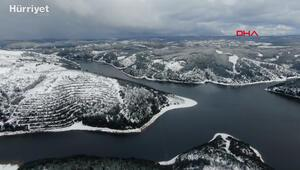 Alibeyköy Barajında son durum havadan görüntülendi