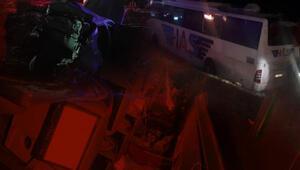 Konyada yolcu otobüsü şarampole devrildi