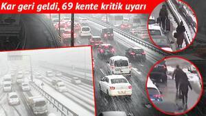 Türkiye kar yağışına teslim Trafik durdu, vatandaş çareyi yürümekte buldu