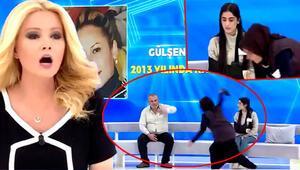 Müge Anlıda yayın durduran görüntü Gülşen Caymazın annesi canlı yayında ayakkabı fırlattı