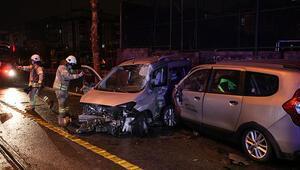 Güngörende iki otomobil çarpıştı: Yaralılar var