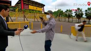 Canlı yayında muhabire gasp şoku kamerada