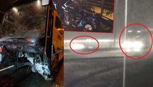 Bursada otoyolda feci kaza Ters yönde hız yapıp otobüsle çarpıştılar: 2 ölü, 10 yaralı