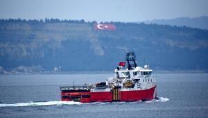 Sismik araştırma gemisi Barbaros Hayreddin Paşa, Çanakkale Boğazından geçti