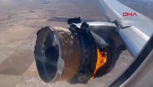 Havada korku dolu anlar Uçağın motoru havada alev aldı
