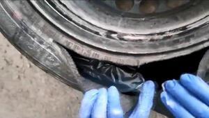 Bursada operasyon Otomobil lastiğinden 1 kilo kokain çıktı