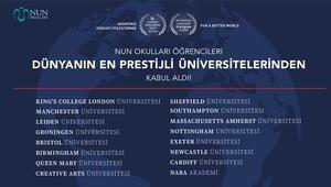 NUN Okulları öğrencileri dünyanın en prestijli üniversitelerinden kabul aldı