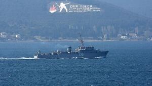 Rus ve Yunan savaş gemileri peş peşe Çanakkale Boğazından geçti