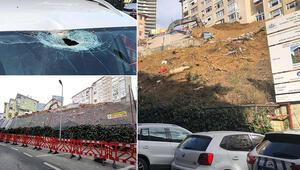Beşiktaşta inşaattan düşen beton parçası iki otomobile zarar verdi