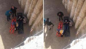 İnşaat işçisi 6 metre yükseklikten düştü...