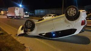 Takla atıp, ters dönen otomobilin sürücüsü yaralandı