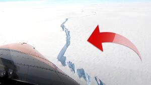 Antarktika'da inanılmaz görüntü Büyük bir buzul kopma noktasına geldi...