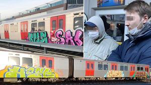 Ankarada şaşkına çeviren olay Rus gençler metro trenini boyarken yakalandılar
