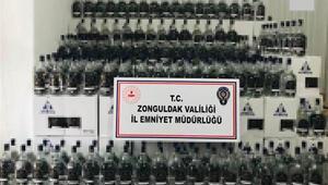 Zonguldakta bir iş yerinin deposunda 1150 litre etil alkol ele geçirildi