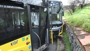 Başakşehirde İETT otobüsleri kafa kafaya çarpıştı