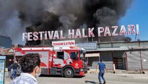 Antalya Festival Çarşısında korkutan yangın