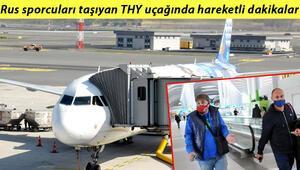 Antalyada Rus sporcuları taşıyan uçakta hareketli dakikalar Israrla maske takmadılar, uçağa polis çağırıldı