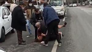 Ankarada sokak ortasında kadına şiddet Dehşet anları kamerada
