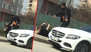 Bursada dehşete düşüren görüntüler Otomobilden indirip saçından tutarak yerde sürükledi