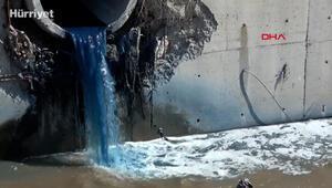 Esenyurtta kimyasal atık nedeniyle Haramidere mavi aktı.