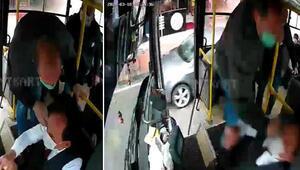 Otobüs şoförüne saldırı anı kamerada