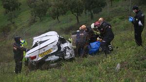 Korkunç kaza Yabancı plakalı lüks otomobil şarampole yuvarlandı