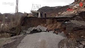 Konyada heyelan nedeniyle yol çöktü