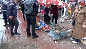 Zonguldakta balkon işçinin üzerine çöktü