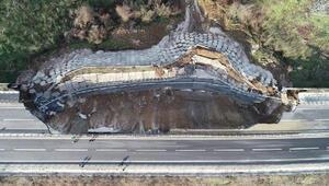 Karayolunda 85 metrelik bölüm çöktü