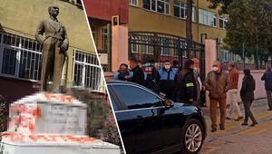 Tekirdağda Atatürk heykeline çirkin saldırı Çevredekiler durumu fark etti