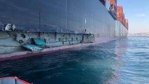 Ambarlı Limanında iskeleye dev konteyner gemisi çarptı