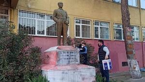 Tekirdağ da Atatürk heykeline çirkin saldırıda bulunan şüpheli görüntüden tespit edildi