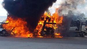 TIRda çıkan yangında dorsede bulunan sıfır kilometre 6 araç yandı