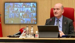 İçişleri Bakanı Soylu, 81 ilin emniyet müdürleriyle video konferans yöntemiyle toplantı yaptı