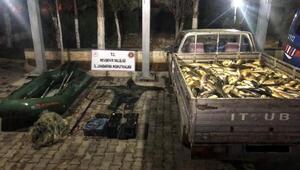 Nevşehirde elektrikle balık avlayan 3 kişi yakalandı